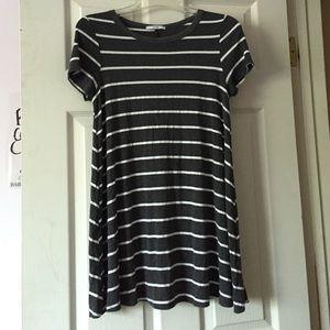 Acemi Grey Striped Tunic T Shirt Dress