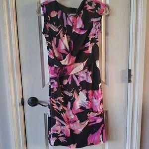 Ann Taylor pink and black silk floral sheath dress