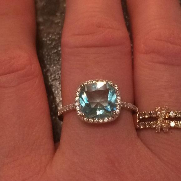 925 Sterling Silver Ring Cushion Cut Blue Topaz