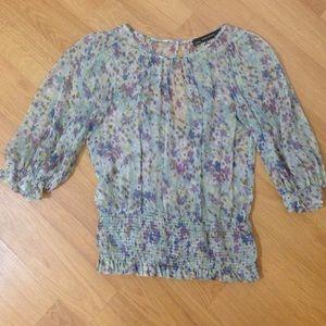 ZARA Sheer floral sexy blouse.