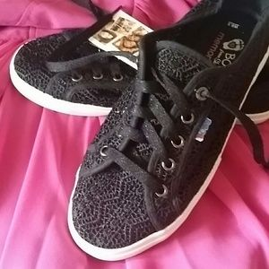 Bobs Shoes - Bobs Black Crocheted Sneakers 7 8 8.5
