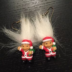 Heinous Santa troll earrings.