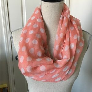 New peach and white polkadotted scarf
