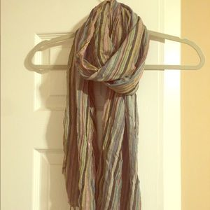 Accessories - Striped Fringed Lightweight Scarf
