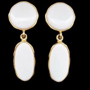 KENNETH JAY LANE / K.J.L.  white enamel earrings