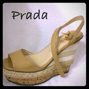 Prada nude wedge platform with ankle strap