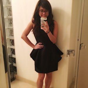 Halston Heritage Dramatic Black Peplum Dress NWOT