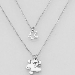 Jewelry - Love cutout puzzle double layer necklace