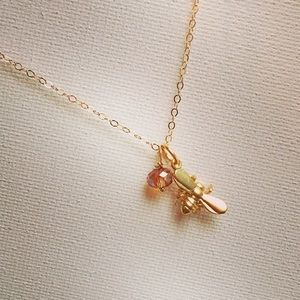 Matte Gold Dipped Bee & Swarovski Crystal Necklace