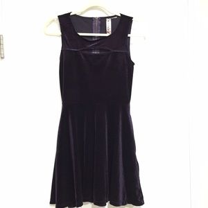 Purple Velour Dress with Keyhole on Front