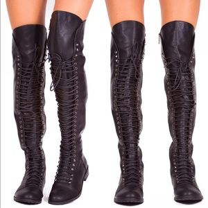 Shoes - Thigh High Flat Boots
