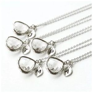 Jewelry - ED33 Clear Silver Initial Pendant Necklace