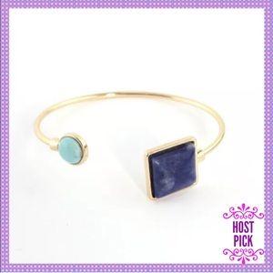 Dark Blue & Turquoise Stone Cuff Bracelet