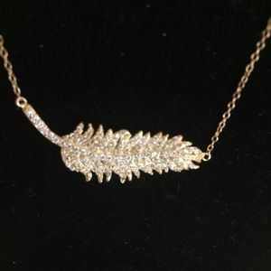 Jewelry - New Sterling Silver Gold Tone CZ Feather Necklace