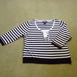 Requirements Sweaters - Nautical black and white light weight sweater. XL