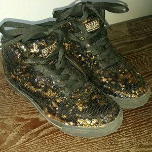 Gotta Flurt Shoes - Gotta Flurt black & gold hip hop sequin shoes