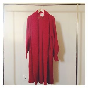 Vintage Red Knit Robe/Long Sweater