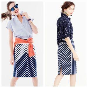 J. Crew chevron stripe pencil skirt