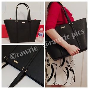 New Kate Spade large black saffiano leather tote