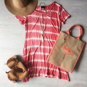 Coral Tie Dye Dress