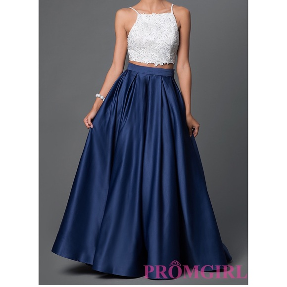 Sherri Hill Dresses | 2 Piece Navy Blue And White Prom Dress | Poshmark