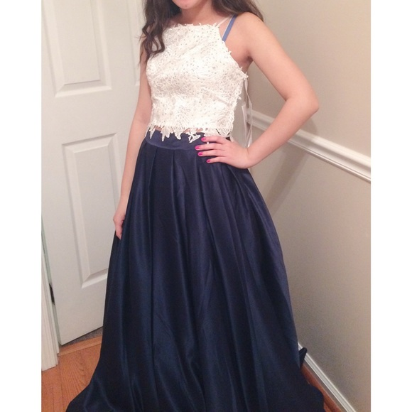34% off Sherri Hill Dresses & Skirts - 2 Piece Navy Blue and White ...