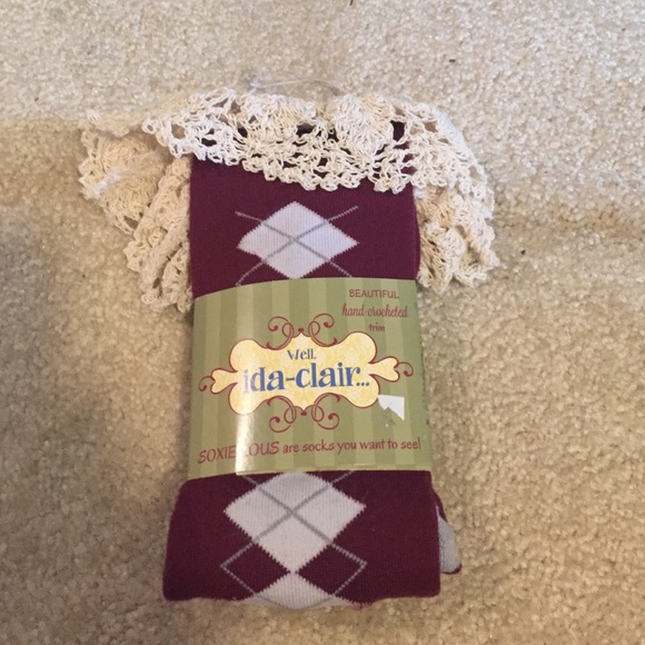 Purple knee high boot socks with crochet trim