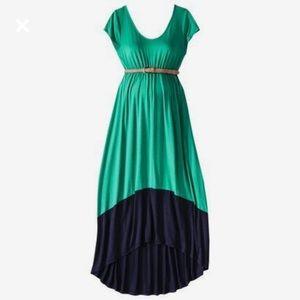 Liz Lange Dresses & Skirts - Green and navy colorblock high low maternity dress