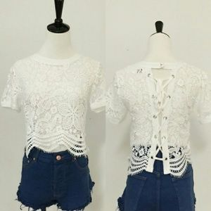 April Spirit Tops - All Lace Tie Up Top