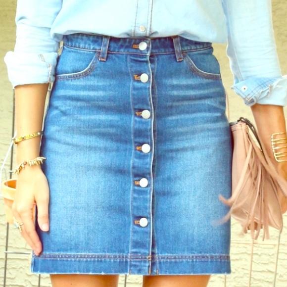 304a47f2b H&M Skirts | Hm Denim Button Front Mini Skirt | Poshmark