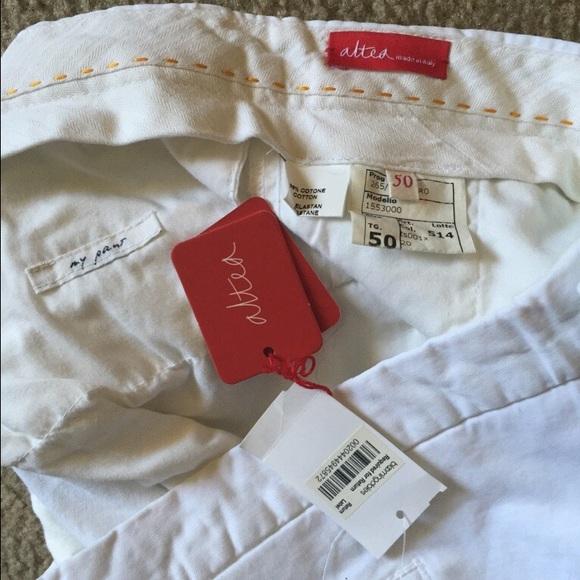 Altea Pants - Altea White Cotton Canvas Slim Fit Pants