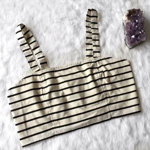 Urban Outfitters Tops - Ecoté Black and Cream Striped Crop Top