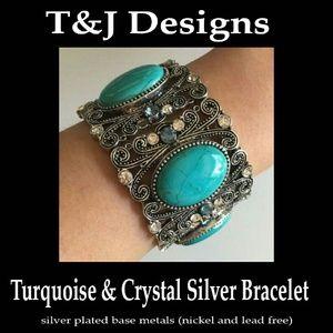 Turquoise & Crystal Silver Bracelet