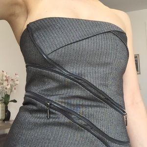 Strapless Bebe mini-dress with zipper detail Small