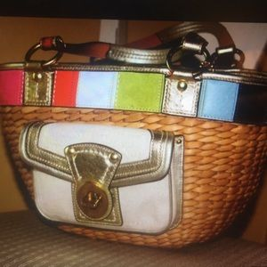 LTD COACH NOVELTY LARGE STRIPE BASKET TOTE PURSE