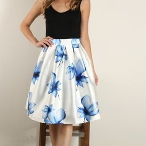 The Blue Floral Midi Skirt