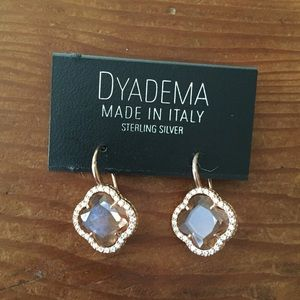 Dyadema Jewelry - Dyadema Sterling Silver Rose Gold Clover Earrings