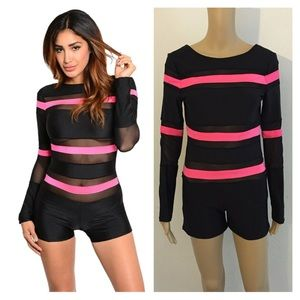 Pants - NEW small black and neon pink romper