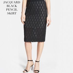 JACQUARD BLACK PENCIL SKIRT