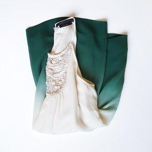 BCBG Silk Embroidered Top