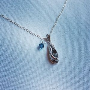 Sterling Silver Flip Flop & Crystal Necklace