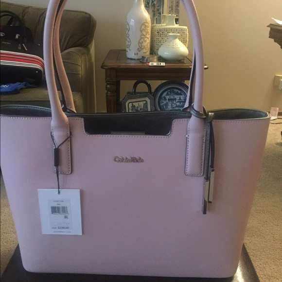 1db7a44091b Calvin Klein Bags | Pink Saffiano Leather Tote Nwt | Poshmark