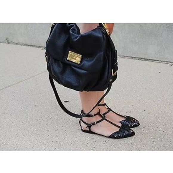 Zara Shoes - Zara Black Glitter Ankle Strap Peep Toed Sandals