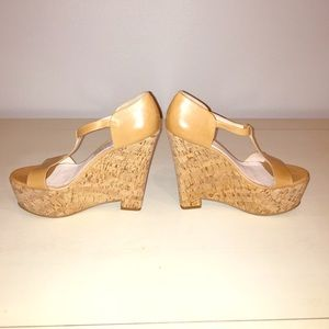 Elizabeth and James tan wedges