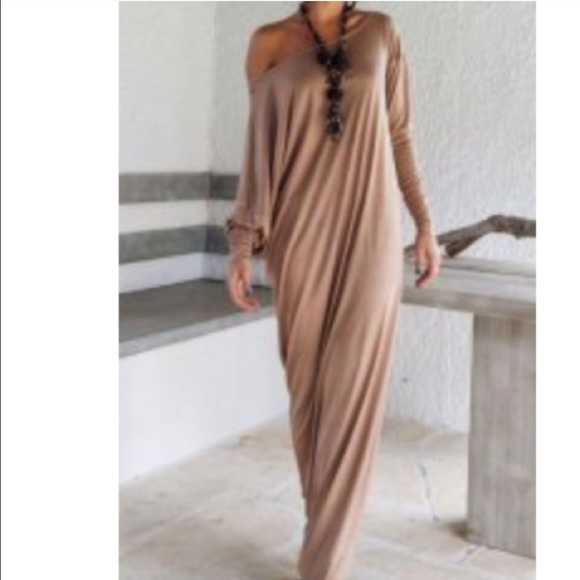 Dresses | Off Shoulder Nudetan Color Maxi Long Dress | Poshmark