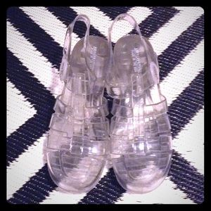 American Apparel Clear Sparkly Heeled Jelly Sandals From