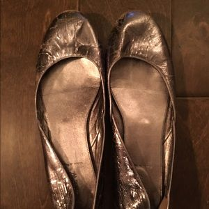J.Crew Metallic Silver, Cracked Leather Flats