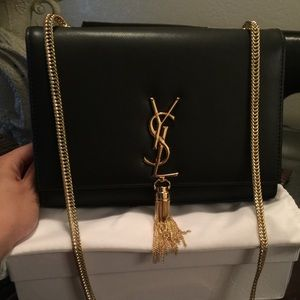 ysl black clutch with chain