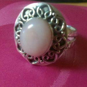 Beautiful pink Navajo pearl ring sterling Silver