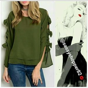 "Tops - 💋LAST ONE💋 ""GREEN with Envy"" Bow details blouse"